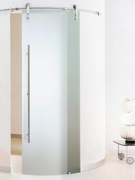 puerta corredera de cristal en curva casali system